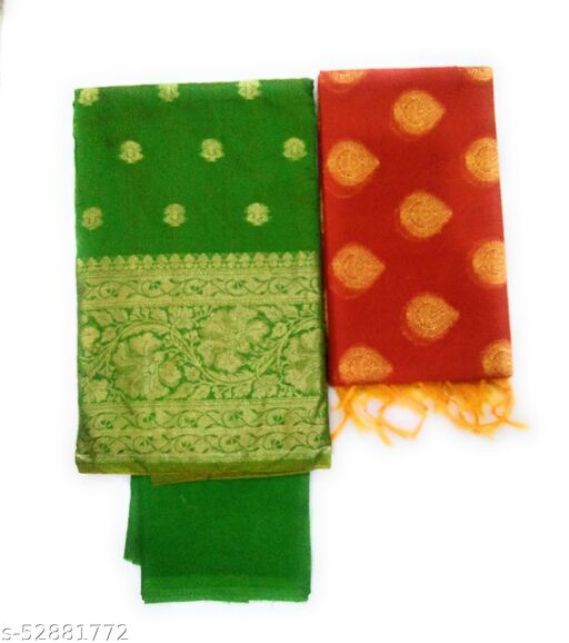 Suteki Women's fashionable banarasi suits with aster, salwar and dupatta unstitched suits pack of 1
