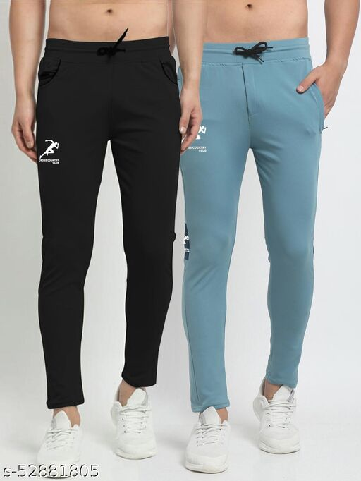 Men's Black Sky Blue Cross Country Club Dry Fit Four Way lycra Track Pant