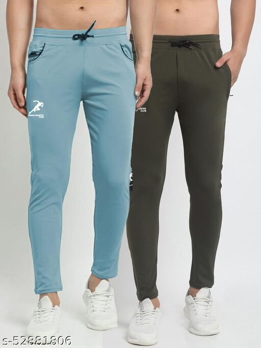 Men's Sky Blue Green Cross Country Club Dry Fit Four Way lycra Track Pant