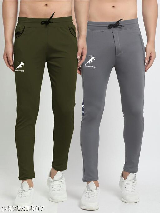 Men's Green Grey Cross Country Club Dry Fit Four Way lycra Track Pant