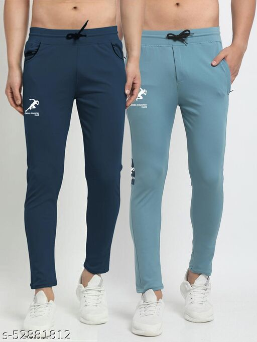 Men's Navy Sky Blue Cross Country Club Dry Fit Four Way lycra Track Pant