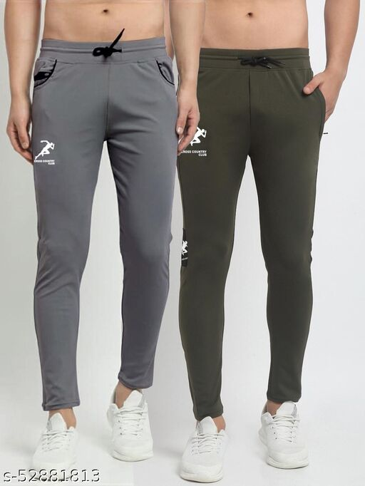 Men's Grey Green Cross Country Club Dry Fit Four Way lycra Track Pant