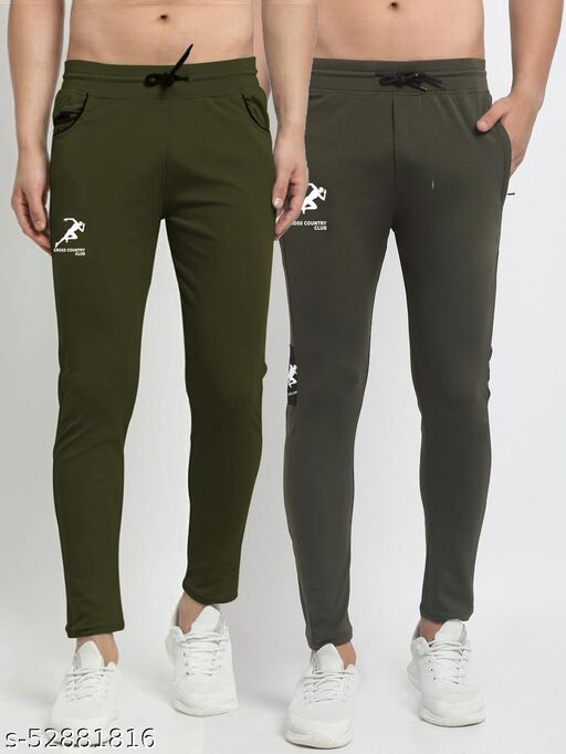 Men's Green Cross Country Club Dry Fit Four Way lycra Track Pant
