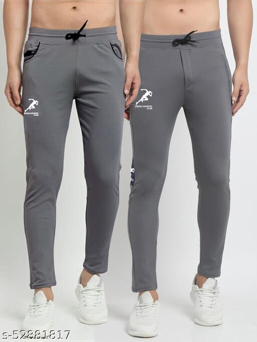 Men's Grey Cross Country Club Dry Fit Four Way lycra Track Pant