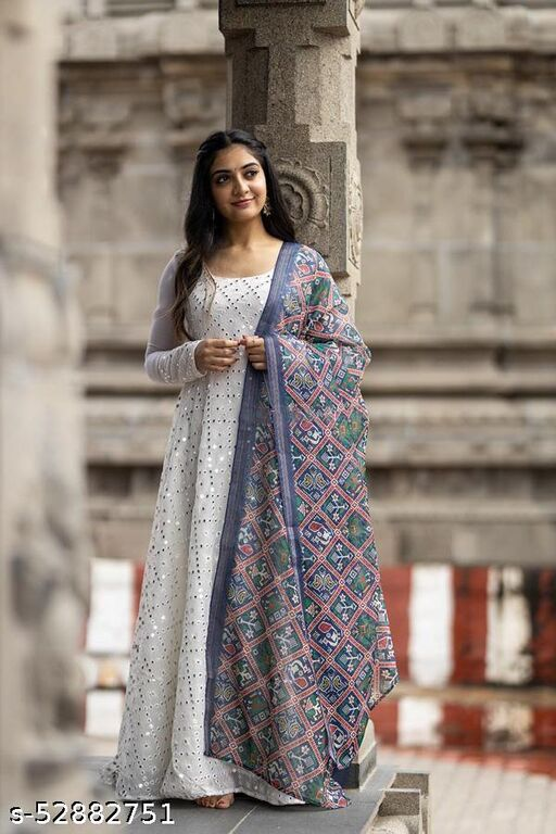 White Georgette Gown with Blue Chanderi Dupatta