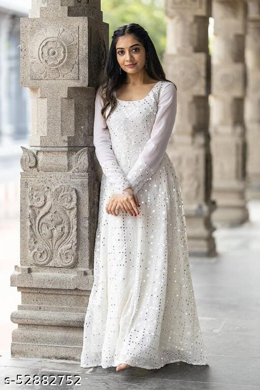 White Georgette Embroidery Gown