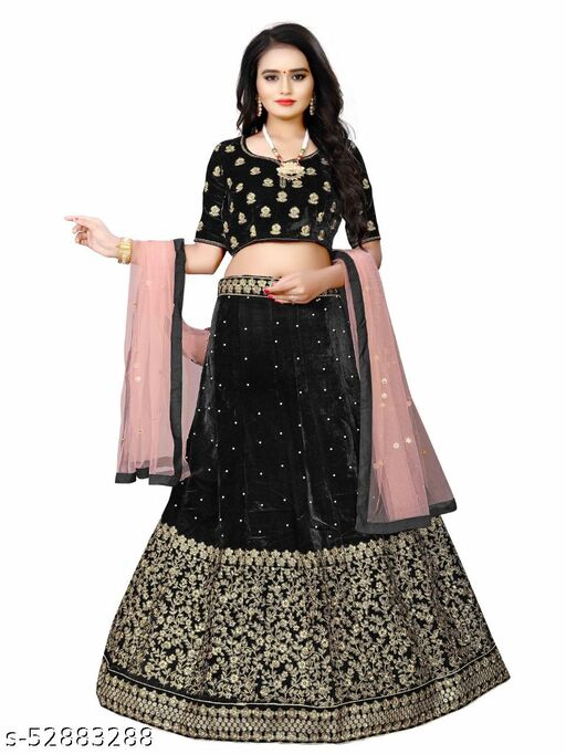 Black Embroidered Attractive Party Wear Lehenga LC--227