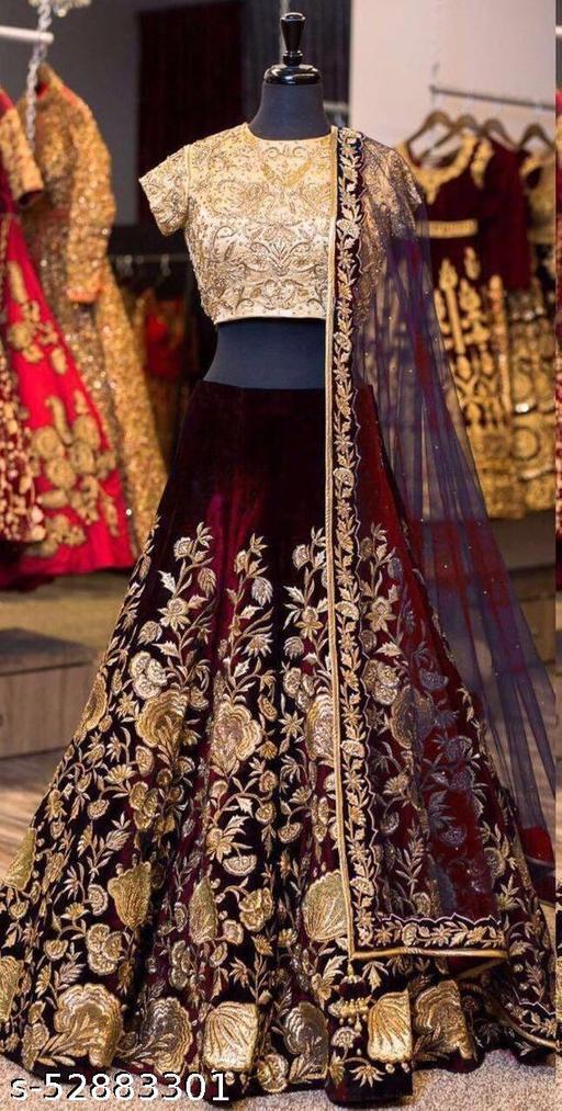 Maroon Colored Designer Partywear Embroidered Work Velvet Material Lehenga Choli LC 294