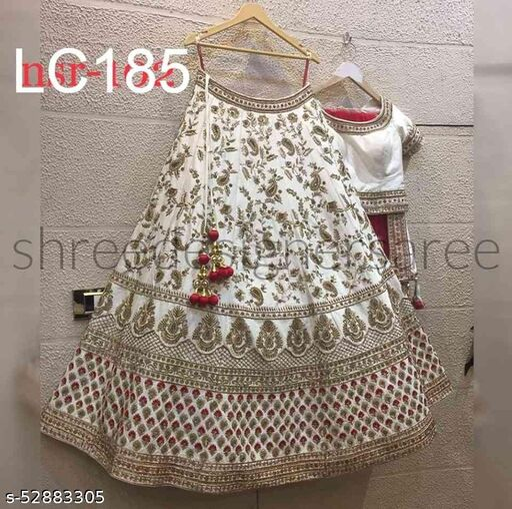 White Colored Red Duppta Partywear Designer Embroidered Silk Lehenga Choli-lc185