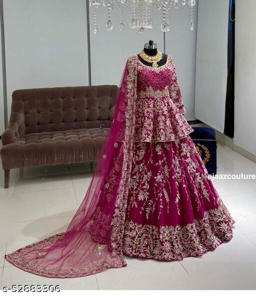 Pink Colored Designer Partywear Embroiderd Work With Malay satin material Lehenga Choli - LC