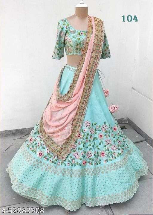 Aqua Blue Designer Partywear Embroiderd Work Semi Stiched Malay satin Material with Dupatta and Blouse Lenhenga choli - LC 12