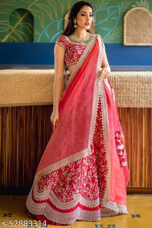 New Fashion Red Designer Partywear Embroiderd Work Malay satin Material with dupatta and Blouse Lenhenga choli - LC 29