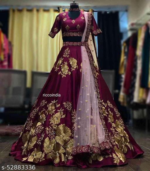 Majanta Colored Partywear Designer Embrodary Work Silk material Lehenga Choli-LC303