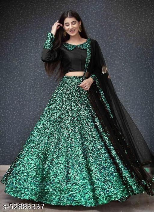 Green and black Velvet Semi-stitched Lehenga Choli LC 291