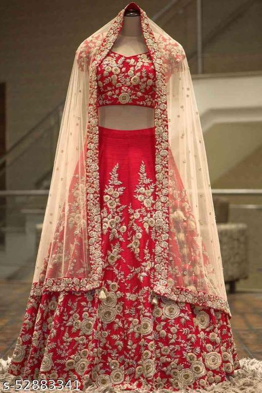 Red Colored Partywear Designer Embroidered Malay Satin Silk Lehenga Choli-