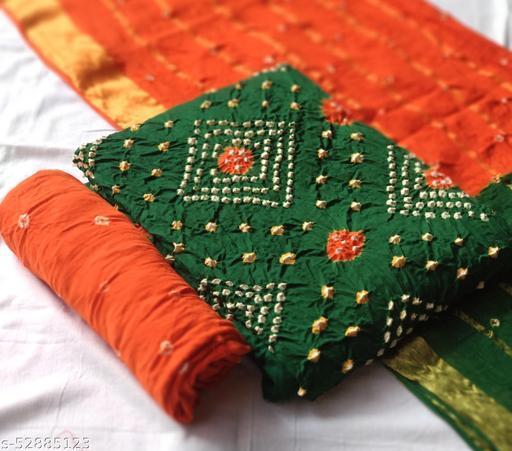 Cotton satin bandhni dress material