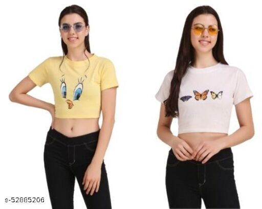 Womens 170 Gsm Printed Premium Cotton Party Crop Top