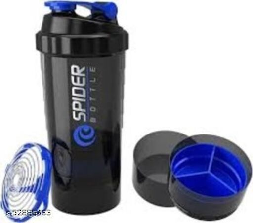 Smart Protein Shaker Bottle for gym with 2 Storage Extra Compartment 500 ml Shaker