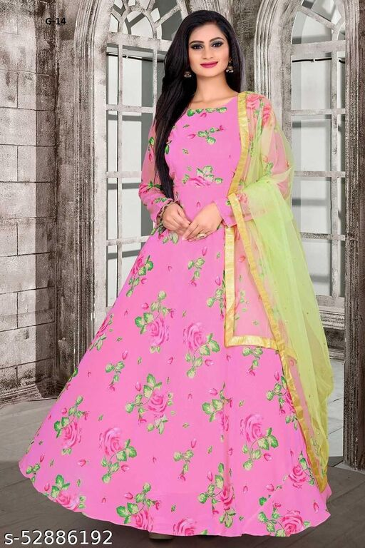Pastel Pink And Green Floral Maxi Dress With Embroidered Dupatta