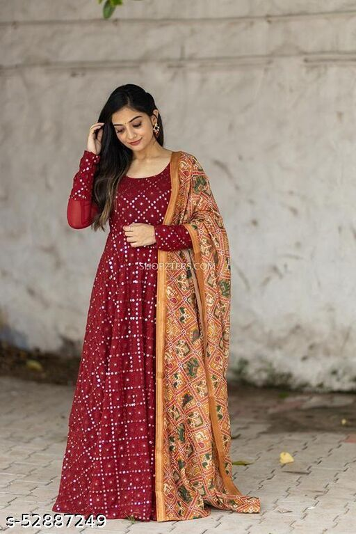 Maroon Georgette Gown with Yellow Chanderi Printed  Dupatta