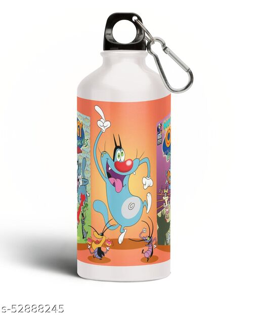 PARTY GLITERS oggi Printed Aluminium 600ml White Sipper Bottle/Water Bottle for Kids share Smile- Best Birthday Gift for Boys, Girls, Kids, Return Gift - OGGI-08