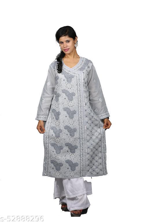 CLÉÍTA's Designer Mukhesh Work Grey Cotton Long Kurti
