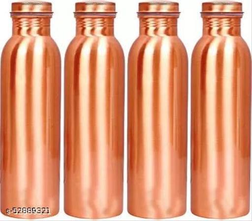 Oxyjal Plain Copper Water Bottle for Health Benefits 1000 ml Bottle  (Pack of 4, Orange, Copper)