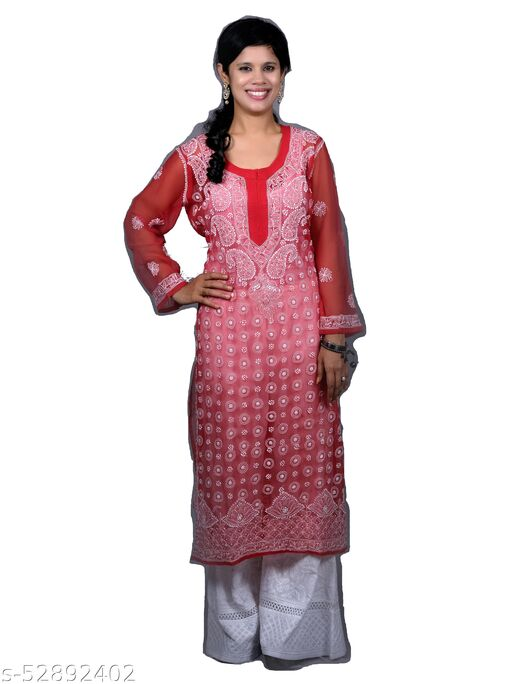 CLEITA Pure Georgette Red with White Embroidered Long Kurti.