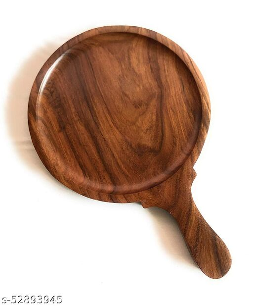 Silver Tree Decors Elegant Sheesham Wood Pizza Plate/Racket/Bat/Board/Snack Serving Plate/Platter Server Tray with Handle for Home/Restaurant, Brown, 10 inch