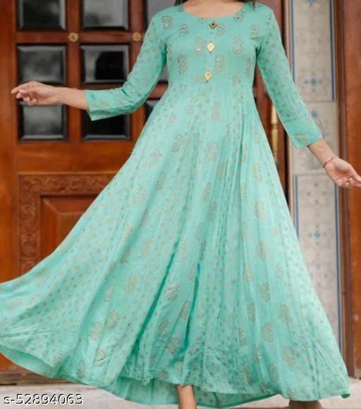Women's Designer Rayon Long Anarkali Gown