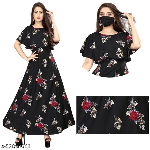 DM Comfy Women Dresses With Mask