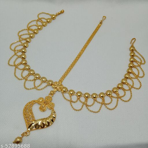 Ball-chain Tri-Maangtika Bridal Tika Tri-Tikli for womens and girls