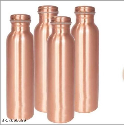 Oxyjal  Copper Water Bottle Glossy Finish - Leak proof Cap - 950 ml - Perfect for Healthy and Ayurvedic lifestyle (Plain)