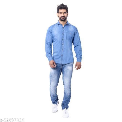 Denim Full Sleeve Shirt - Sky Blue