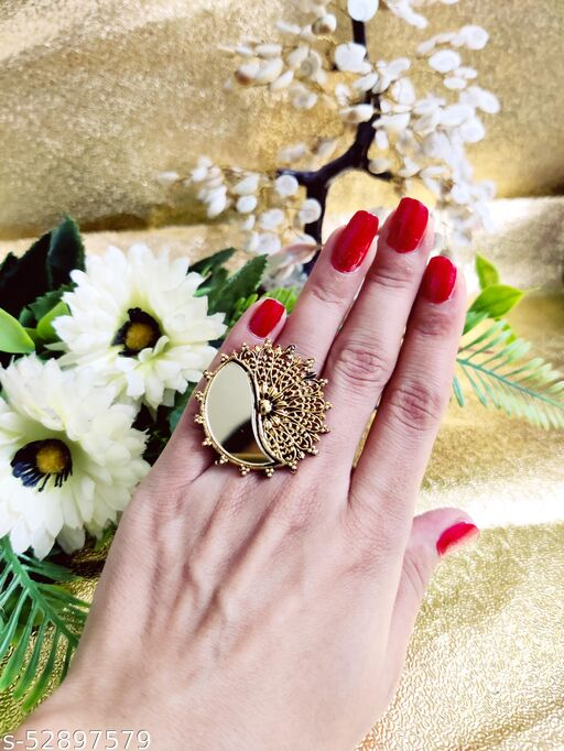 Oxidized Mirror golden Adjustable Stylish Ring for Women  Size: Adjustable Color: Oxidized Style