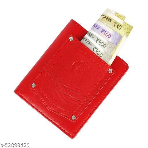 Cluemen Men & Women Casual Red Artificial Leather RFID blocking Wallet
