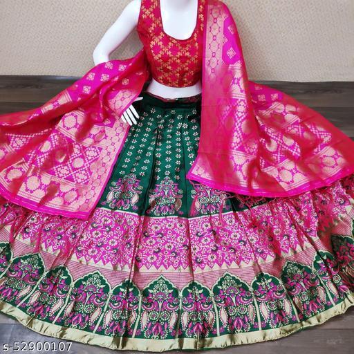 KB30 Banarasi brocade Lehnga with inner cancan & canvas and ready paded Blouse and Banarasi duppta