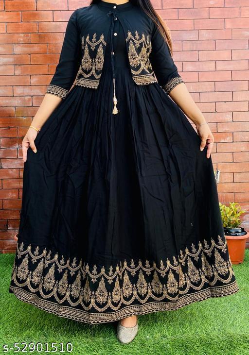 Festive Collection Black Rayon Anarkali Flared Long Kurta With Jacket