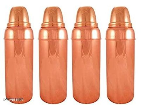 Oxyjal 1000ml Pure Copper Thermos Design Bottle 2 ml Bottle  (Pack of 2, Brown, Copper)
