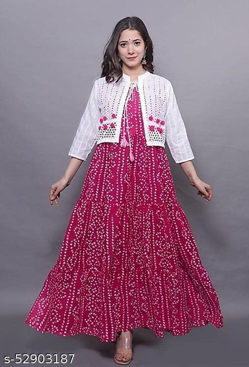 Bandhej Print Ankle Length Plus Size Kurti/Gown with Schiffli Jacket