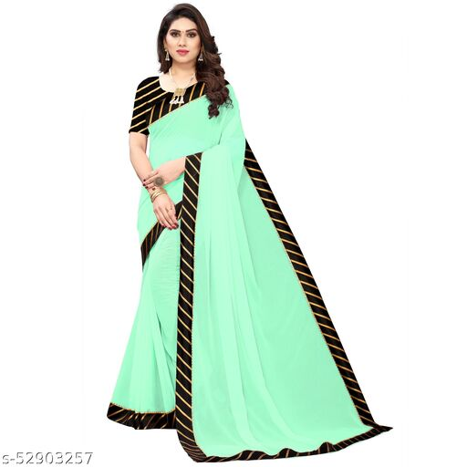 Woman's Aqua Green Chiffon Solid  saree with Black color blouse Piece in Stripe style