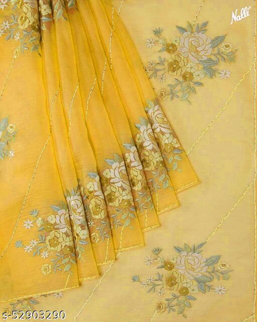 Yellow Organza Silk Saree With Blouse (red yellow pink blue)