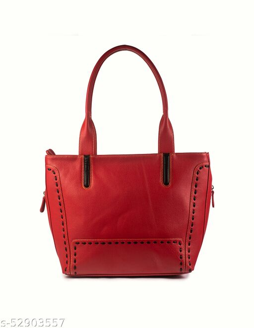 Women's Shoulder Bag Genuine Leather/Ladies Bags Latest Stylish Branded Big Size Best for Official Red