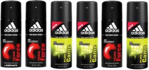 ADIDAS 3 Team Force and 3 Pure Game Deodorant Body  pack of 2
