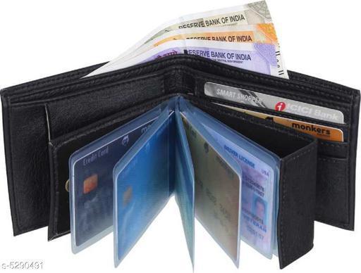Stylish Men's Black Faux Leather/Leatherette Wallet