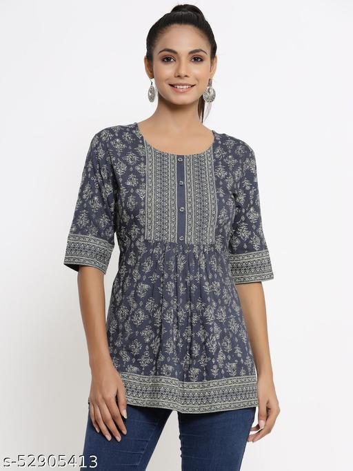 Kipek women's Self Desgin Rayon fabric Short Kurta Grey color
