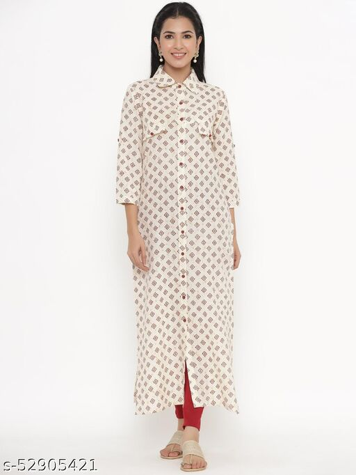 Kipek women's Self Desgin Cotton fabric A-line Kurti Off-white color