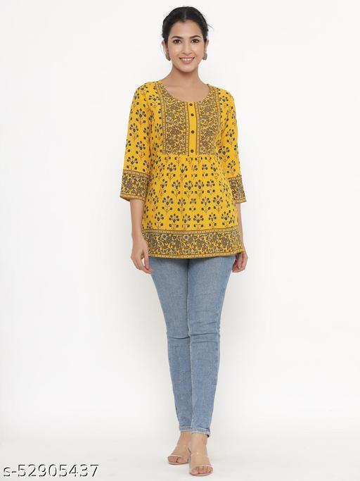 Kipek women's Self Desgin Rayon fabric Short Kurta Mustard color