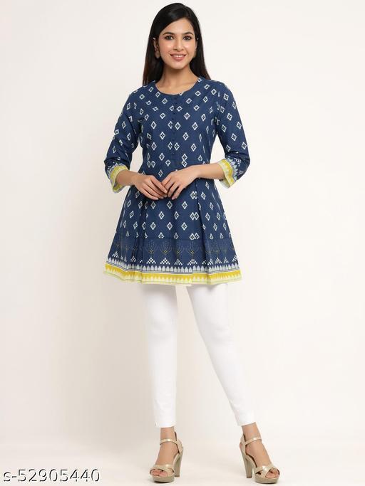 Kipek women's Self Desgin Cotton fabric Short Kurta Blue color