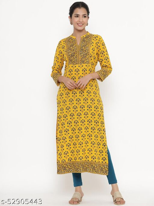 Kipek women's Self Desgin Rayon fabric Straight Kurta Mustard color